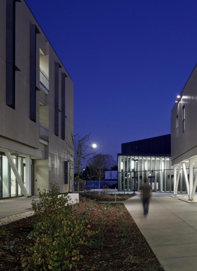 Outside of Gallagher Hall at Night