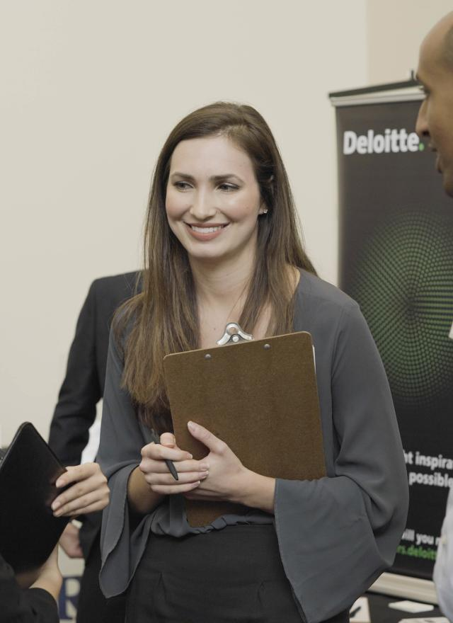 Photo of MPAc student from Meet the Firms event in 2018