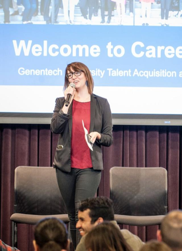 Layne Austin MBA 23 speaking at Genentech Career Day